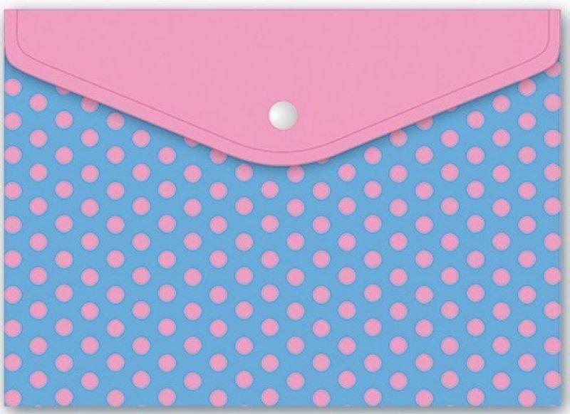 Папка для тетрадей А4 1 отд на кнопке Розовый горошек