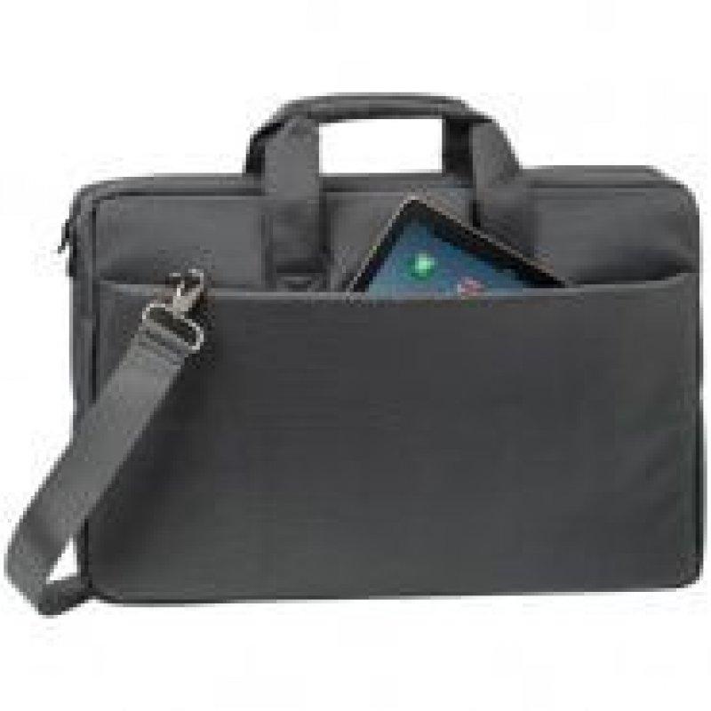 Сумка деловая для офиса и учебы RivaCase ткань серый