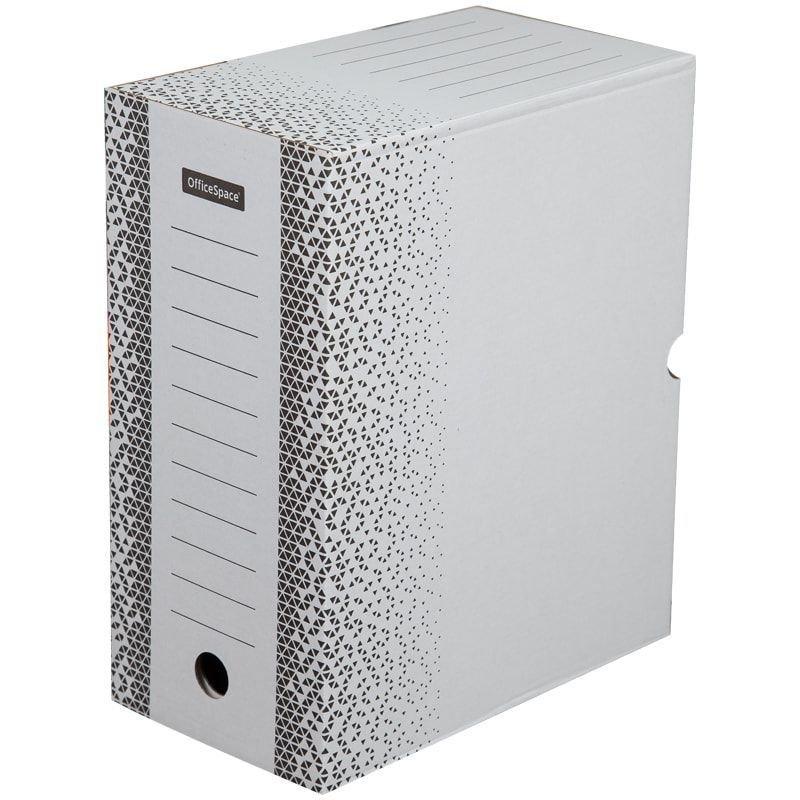 Короб архивный 150мм 1400л с клапаном микрогофрокартон бело-серый 320х260х150мм OfficeSpace