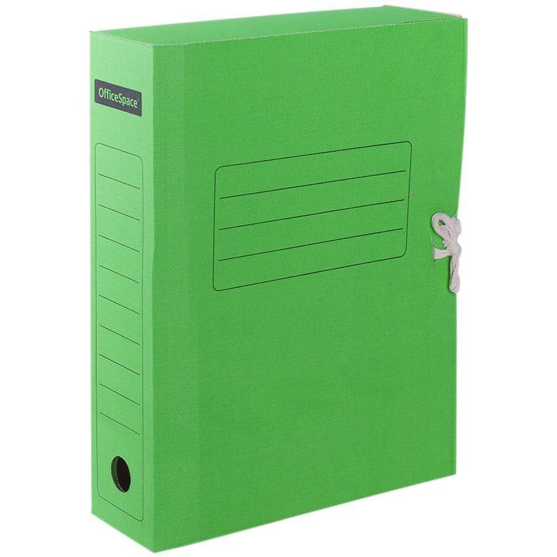 Короб архивный 75мм 700л 2 завязки микрогофрокартон зеленый 325х235х75мм