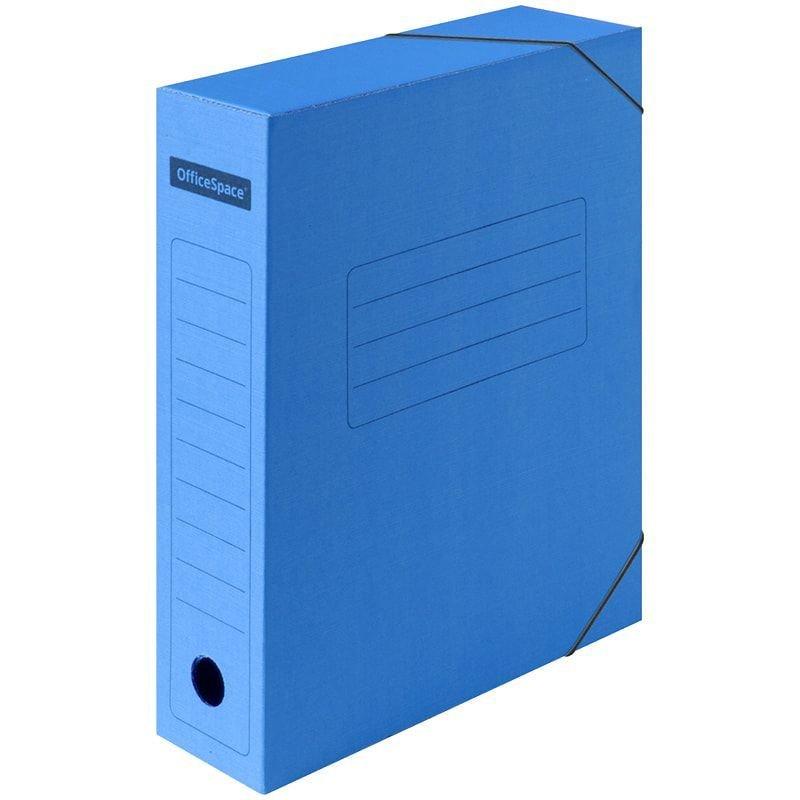 Короб архивный 75мм 700л 2 резинки микрогофрокартон синий 325х235х75мм OfficeSpace