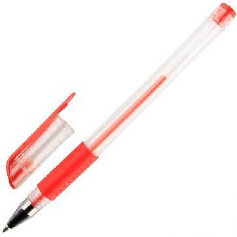 Ручка гелевая Attache Economy 0,5мм прозрачный корпус резиновая манжетка красная