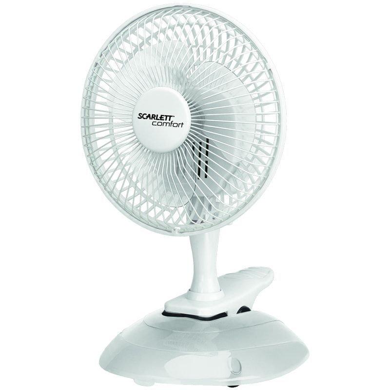 Вентилятор настольный Scarlett SC-DF111S01 d15см 25Вт 2 режима на прищепке белый