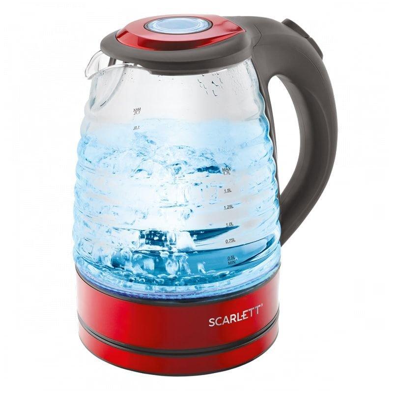 Чайник Scarlett SC-EK27G62 2200Вт 1,7л стекло красный