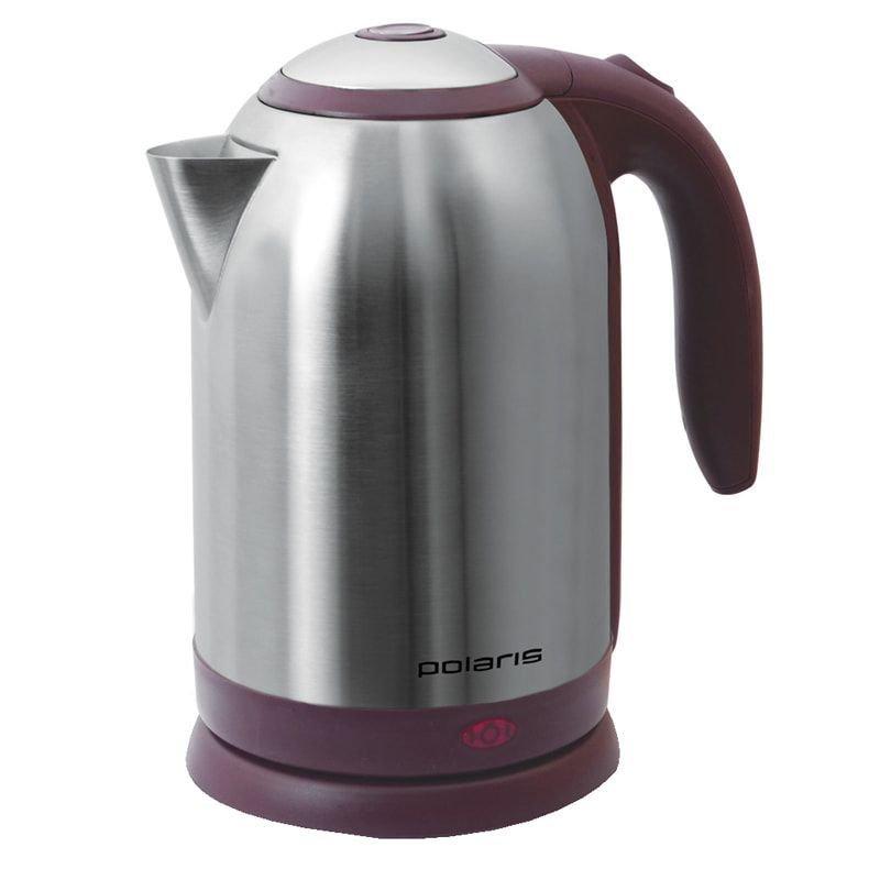 Чайник Polaris PWK-1864CA 1800Вт 1,8л нержавеющая сталь серебристый/бордовый