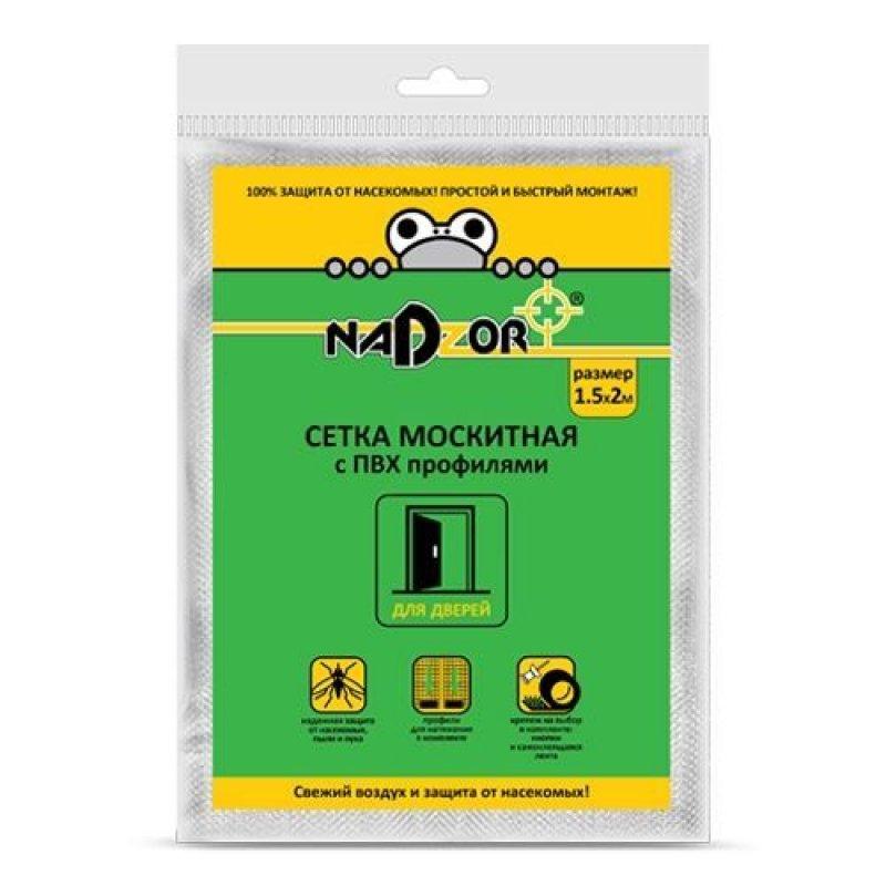 Сетка москитная с пвх профилями для дверных проемов 1,5х2м белая в пакете Надзор