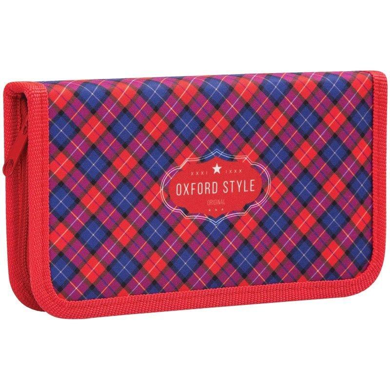 Пенал 1 отд 190х110мм Красная шотландка ткань