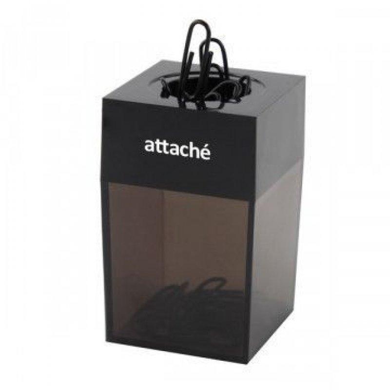 Скрепочница магнитная Attache тонированная с черной крышкой +20 скрепок