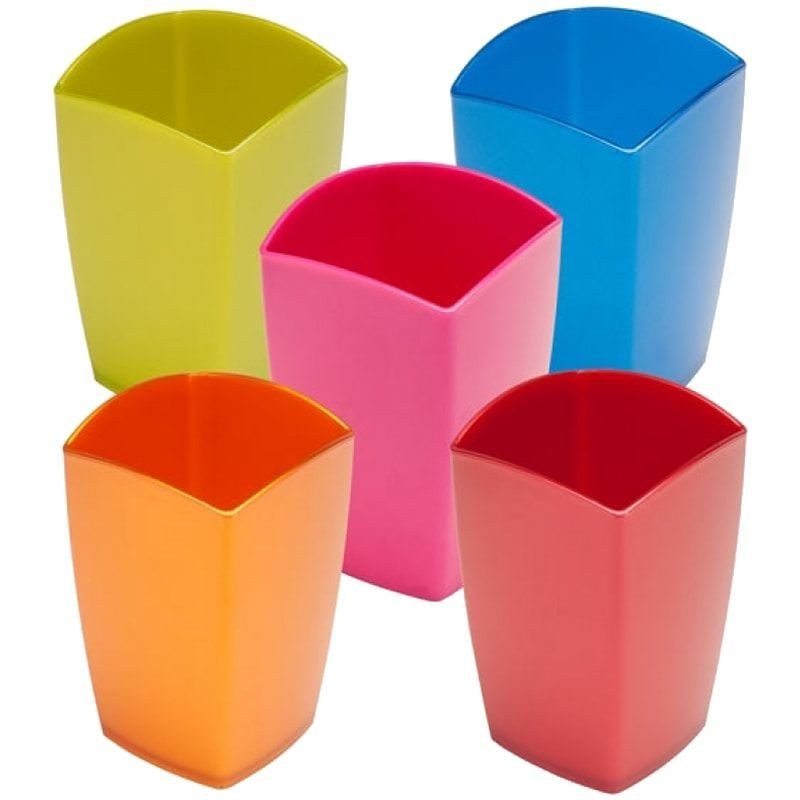 Подставка-стакан Стамм Люкс Gloss пластик квадратный ассорти