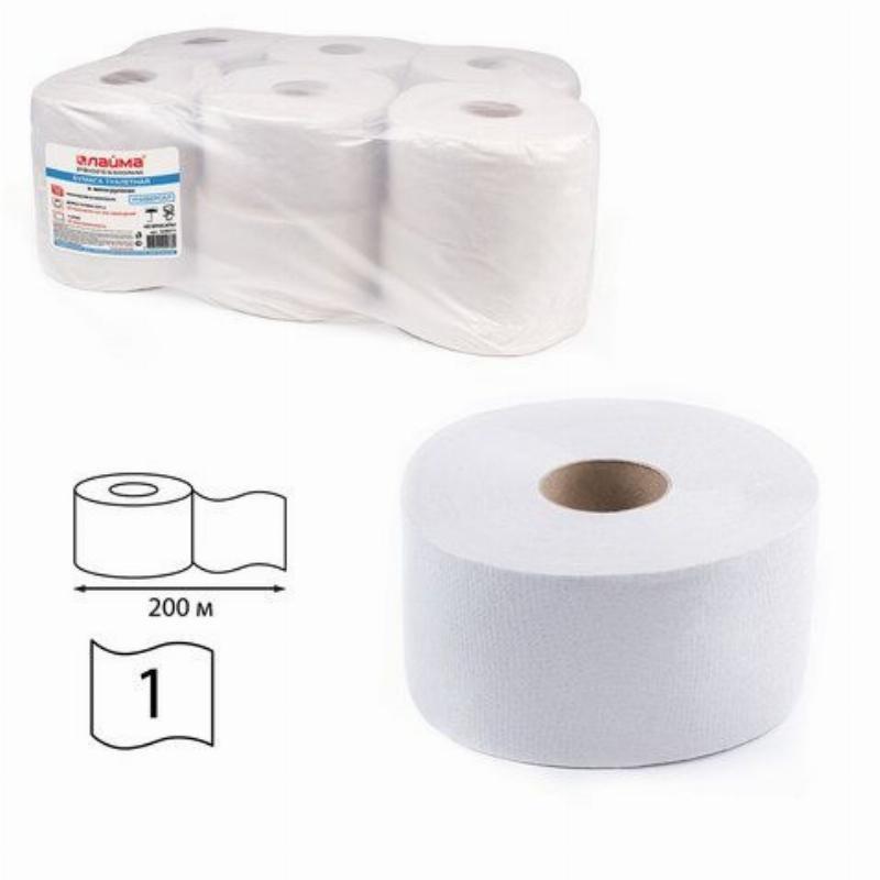 Бумага туалетная Лайма 1-сл 200м белая