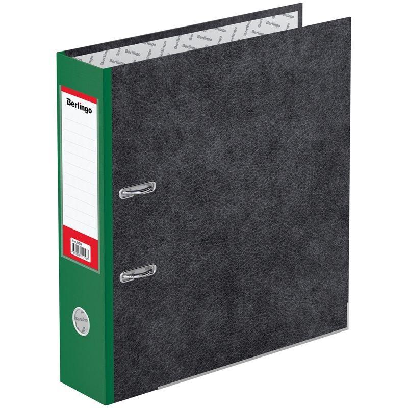 Папка-регистратор 80мм Berlingo Hyper мрамор уголок карман зеленый корешок