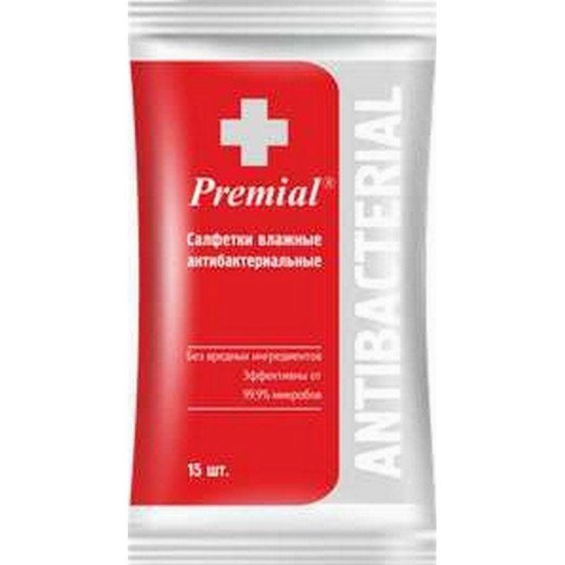 Салфетки влажные Premial антибактериальные 15шт/уп