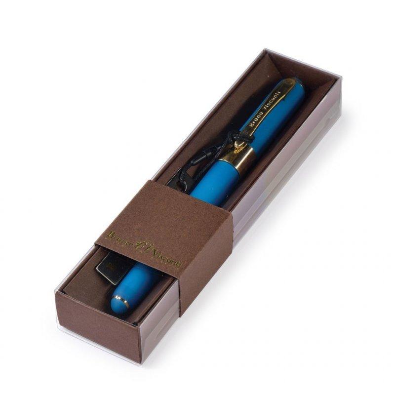 Ручка шариковая подарочная Bruno Visconti Monaco 0.5 мм синяя бирюзовый корпус в футляре