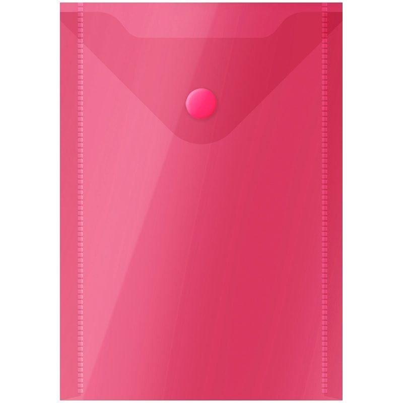 Папка-конверт с кнопкой 105х148мм А6 вертикальная красная