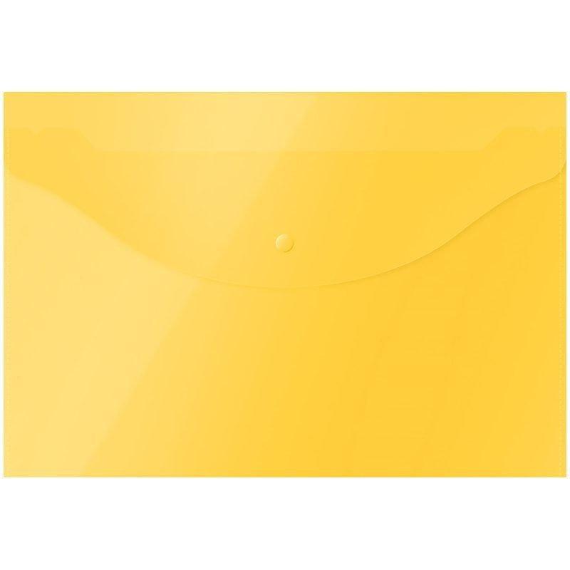 Папка-конверт с кнопкой А4 OfficeSpace 0,12мм прозрачная ассорти