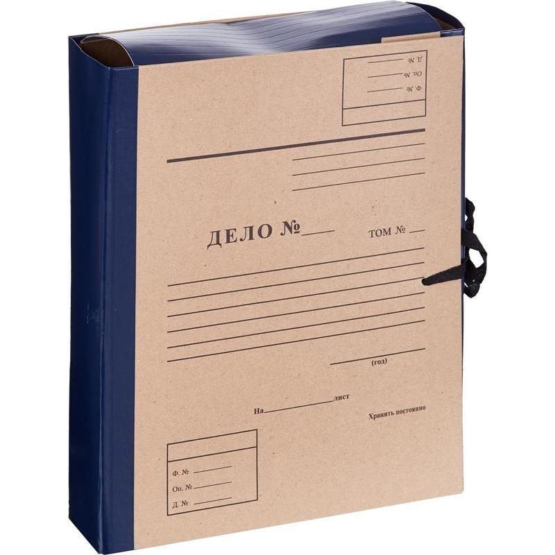 Папка архивная 80мм 4 завязки 800л Дело крафт/бумвинил синяя 310х230х80мм Attache