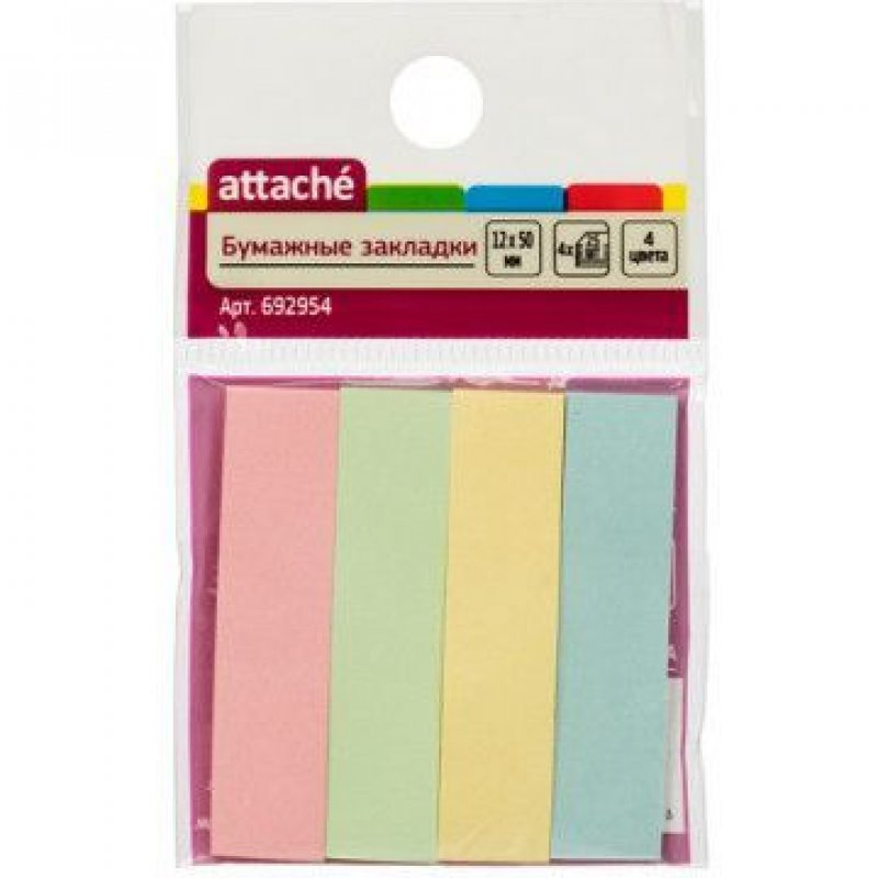 Закладки самоклеящиеся 50х12мм Attache бумажные 4цвета по 25л