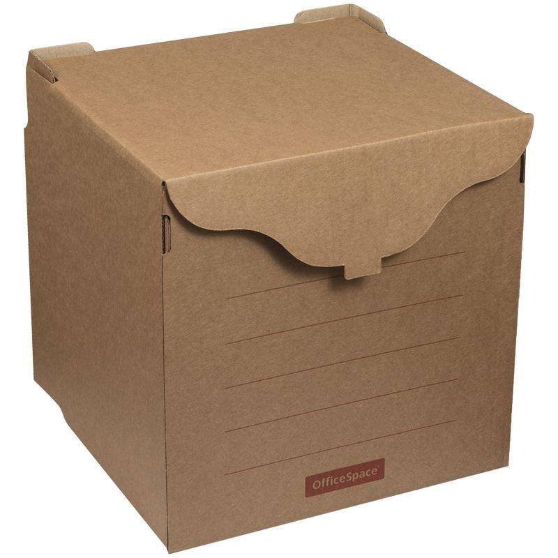 Короб архивный с крышкой 340х330х310мм гофрокартон бурый OfficeSpace