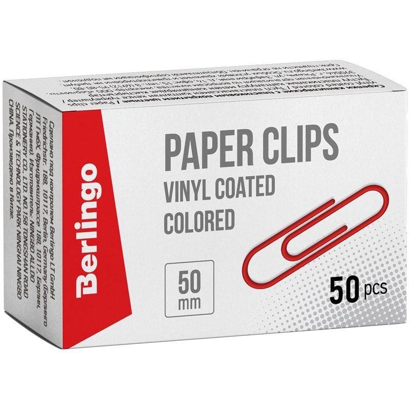 Скрепки 50мм Berlingo 50шт/уп пластиковое покрытие цветные карт коробка