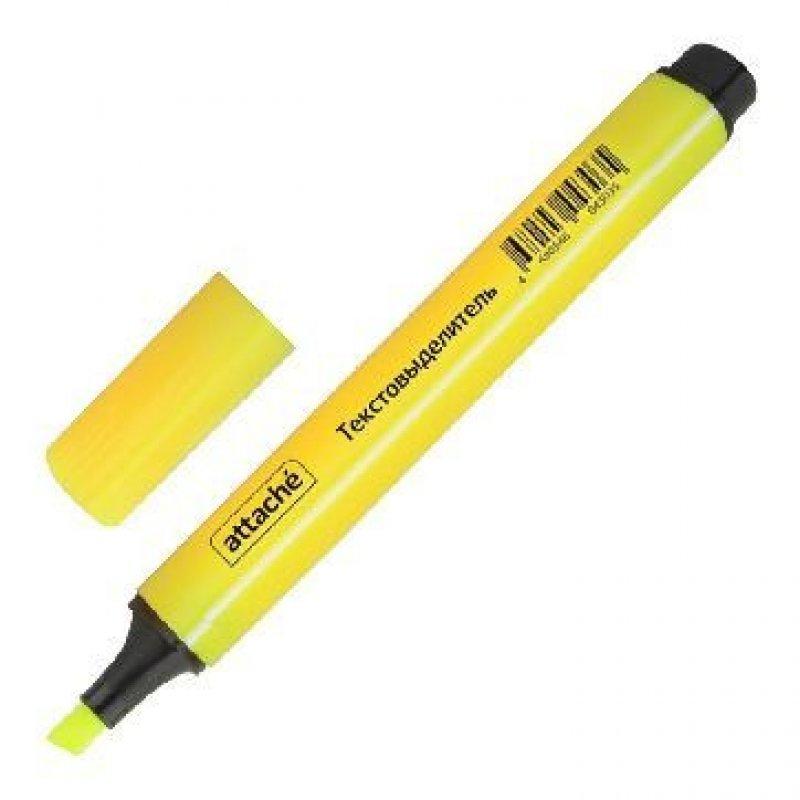 Текстмаркер Attache 1-4мм скошенный наконечник трехгранный корпус желтый