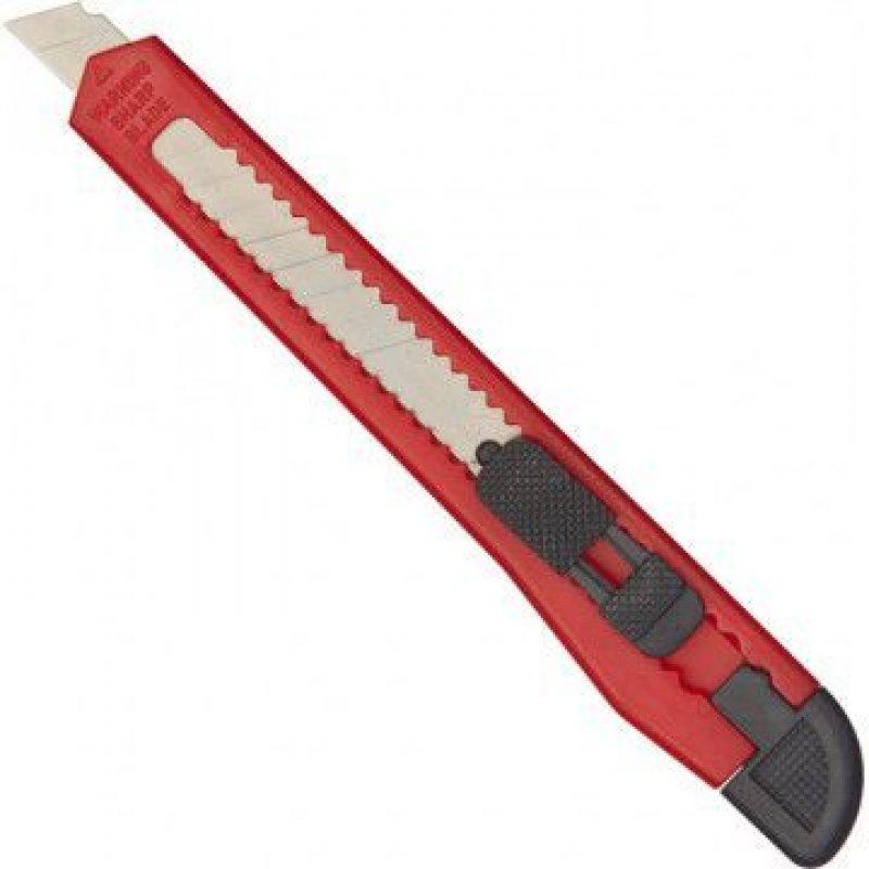 Нож канцелярский 9мм Attache ручной фиксатор красный