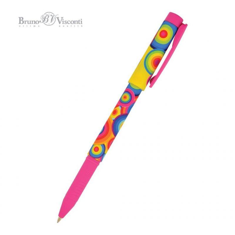 Ручка шариковая Bruno Visconti FreshWrite Круги цветные 0,7мм цветной корпус синяя