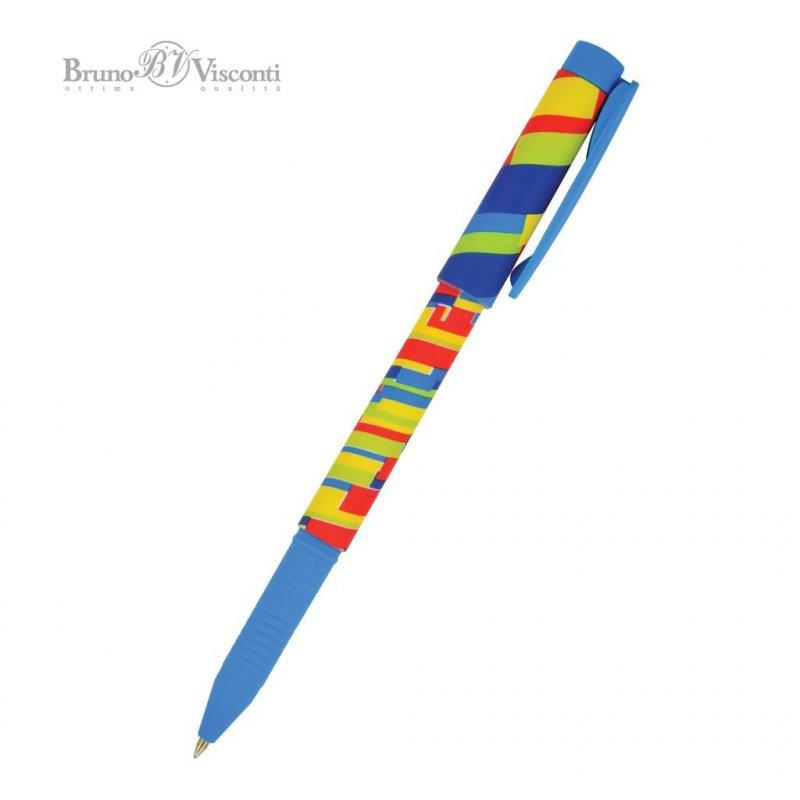 Ручка шариковая Bruno Visconti FreshWrite полоски 0,7мм цветной корпус синяя