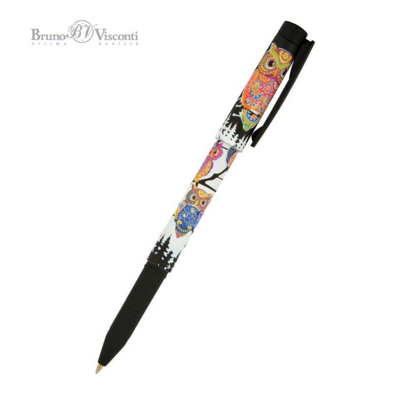 Ручка шариковая Bruno Viskonti FreshWrite Мультики золотая сова 0,7мм синяя