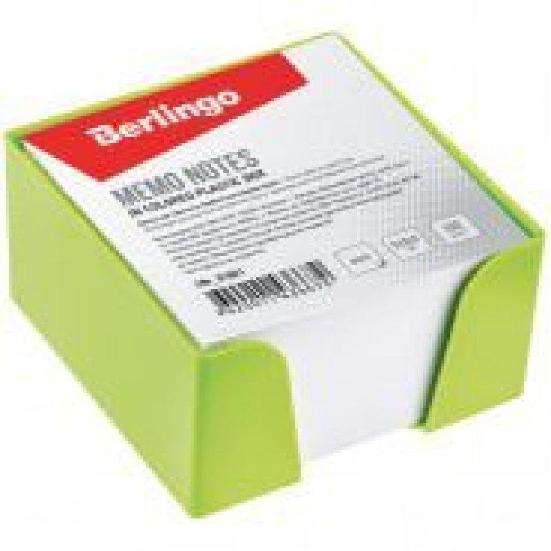 Блок для записей 90х90х50мм Berlingo белый салатовый пластиковый бокс