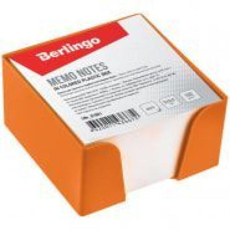 Блок для записей 90х90х50мм Berlingo белый оранжевый пластиковый бокс