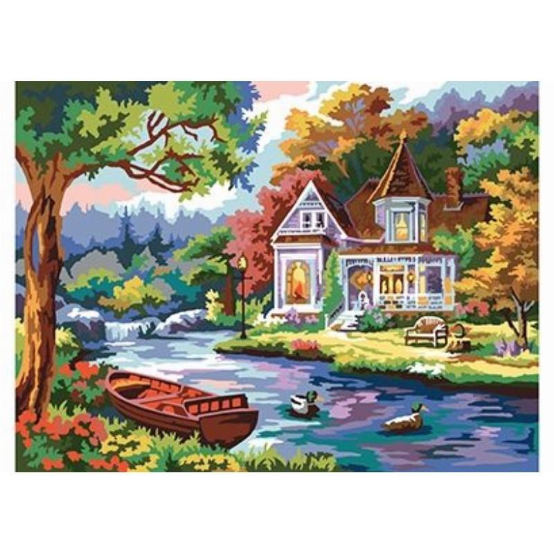 Холст с красками 30х40  Домик у озера