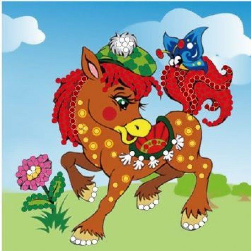 Набор для вышивания бисером 15х15 Веселая лошадка