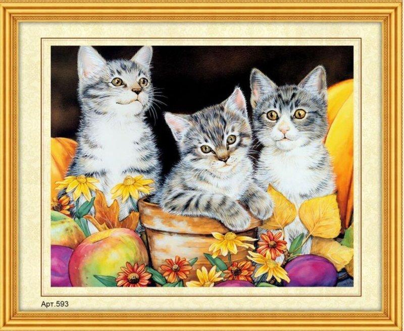 Набор для вышивания бисером 27х35 Забавные котята