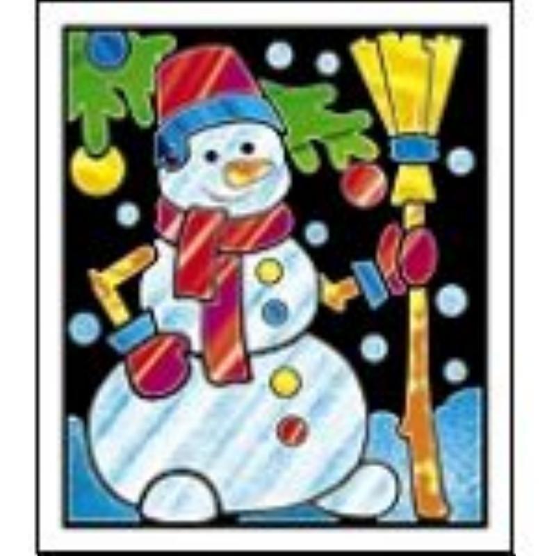 Аппликация фольгой 19х22см Снеговик