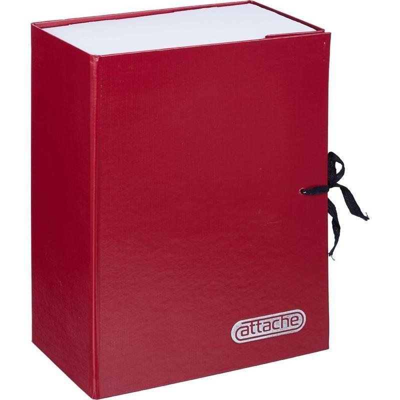 Короб архивный 120мм 2 завязки 1000л бумвинил красный 330х240х120мм Attache