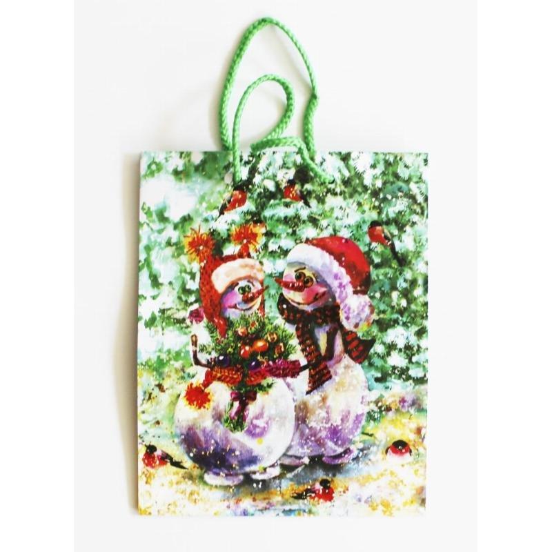 Пакет подарочный 18х22х10см НГ Мега М Снеговики/Дед мороз
