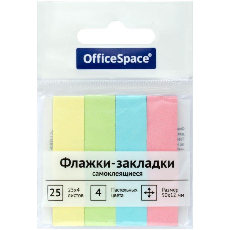 Закладки самоклеящиеся 50х12мм OfficeSpace бумажные 4цвета по 25л