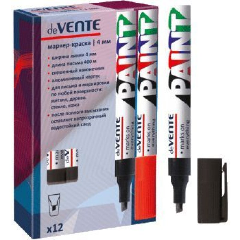 Маркер-краска deVente 4мм скошенный наконечник нитро-основа черная