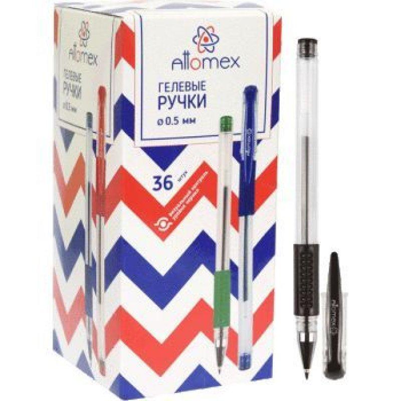 Ручка гелевая Attomex 0,5мм резиновый держатель прозрачный корпус черная