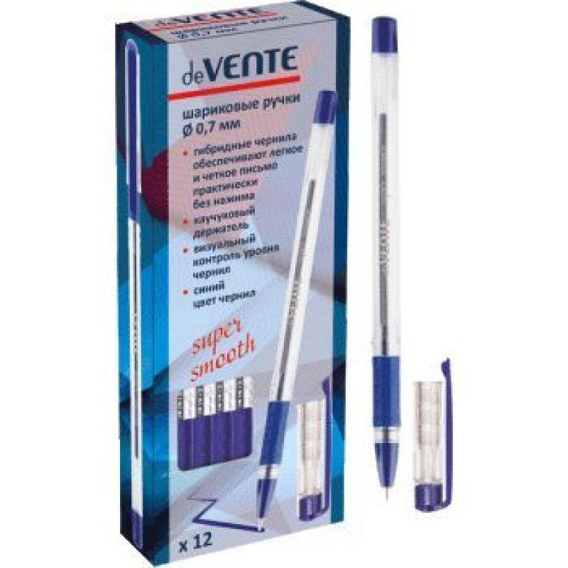 Ручка шариковая deVENTE 0,7мм прозрачный корпус резиновый держатель игольчатая масляная синяя