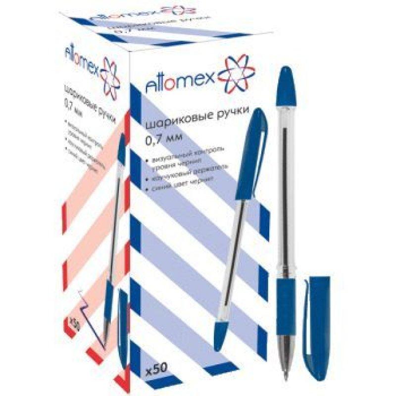 Ручка шариковая Attomex 0,7мм прозрачный корпус резиновый держатель синяя