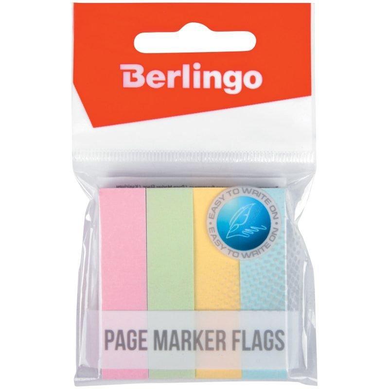 Закладки самоклеящиеся 12х50мм Berlingo бумажные 4цвета по 100л