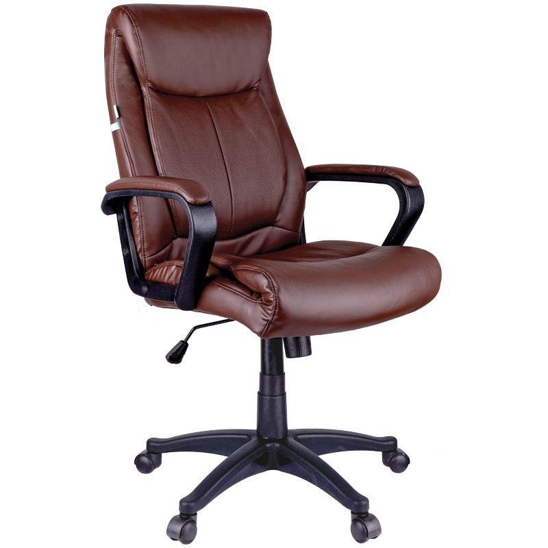 Кресло руководителя Helmi HL-E02 Income с подлокотниками экокожа коричневое