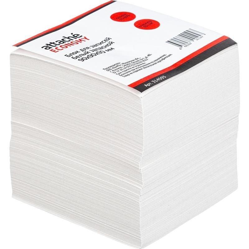 Блок для записей 90х90х90мм Attache Economy белый 65-75% запасной