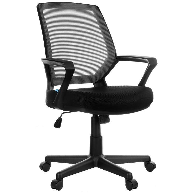Кресло для оператора Helmi HL-M02 Step c подлокотниками ткань/сетка черное