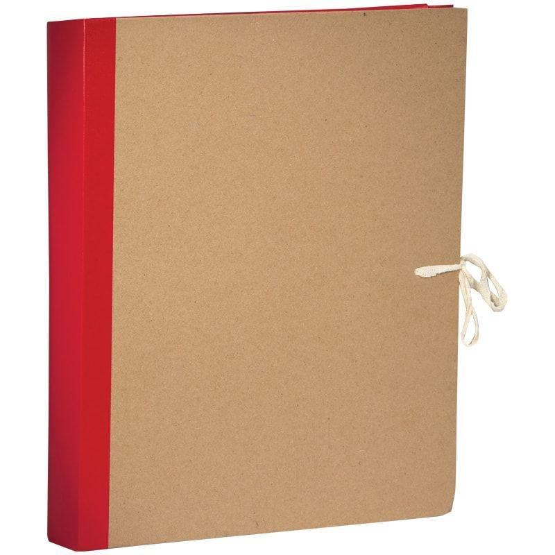 Папка архивная 50мм 4 завязки 500л крафт/бумвинил красная 310х228х50мм OfficeSpace