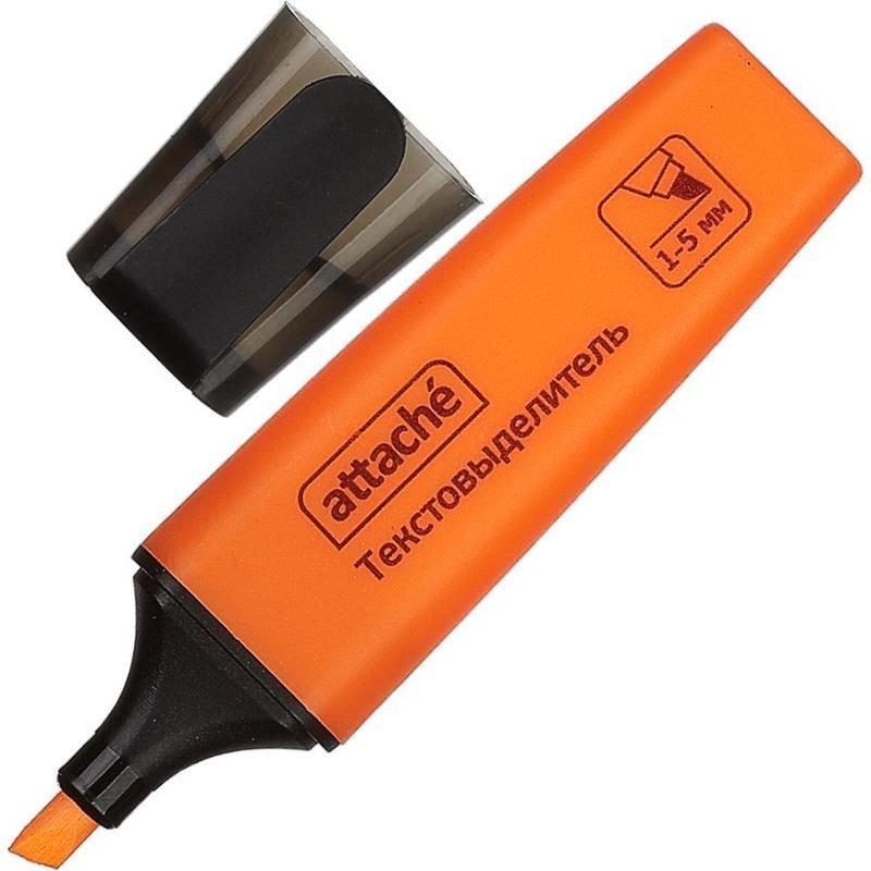 Текстмаркер Attache Colored 1-5мм скошенный наконечник оранжевый