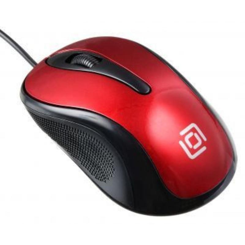 Мышь Oklick 385M USB 2кнопки+1колесо-кнопка оптическая проводная черный/красный