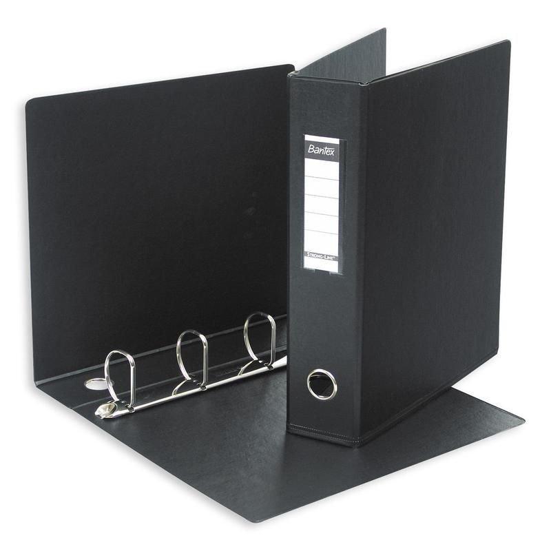 Папка на 4-х кольцах картон/ПВХ 60мм Bantex черная