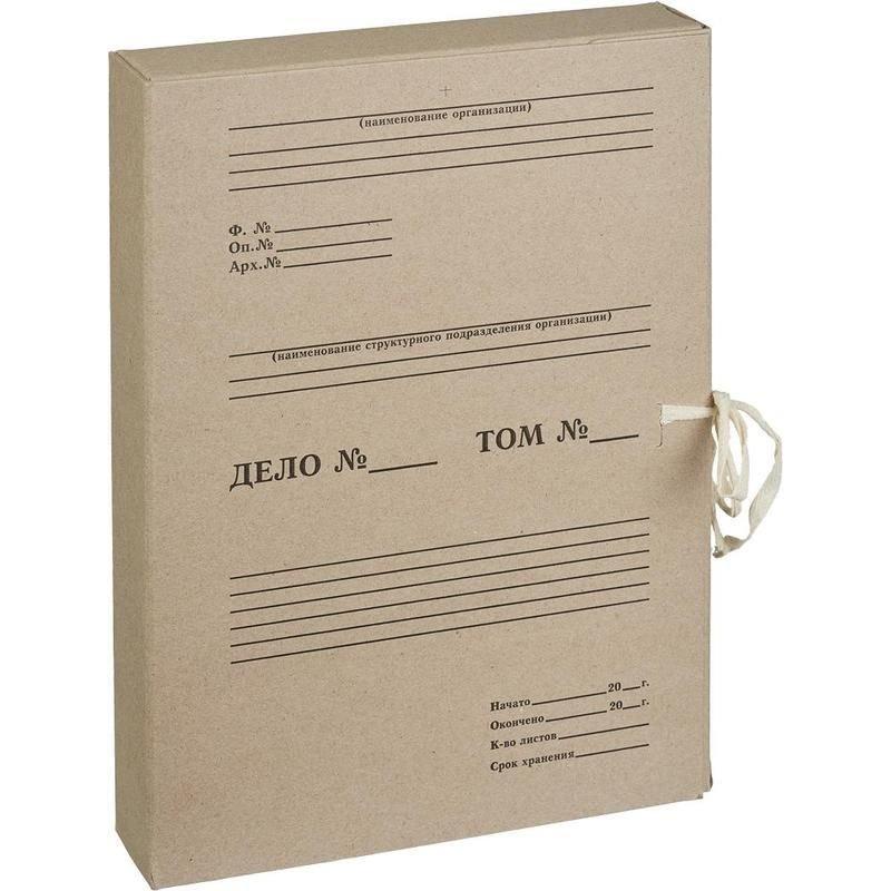 Короб архивный 50мм 500л 2 завязки микрогофрокартон бурый 330х240х50мм Attache